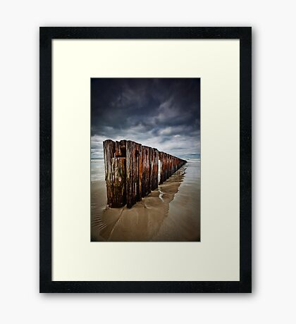 Old Timber Sea Fence in Port Fairy Framed Print