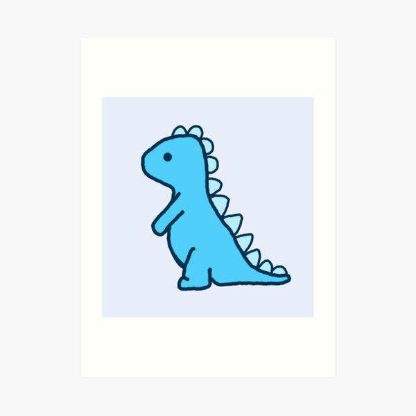 kleiner blauer Dinosaurier Kunstdruck