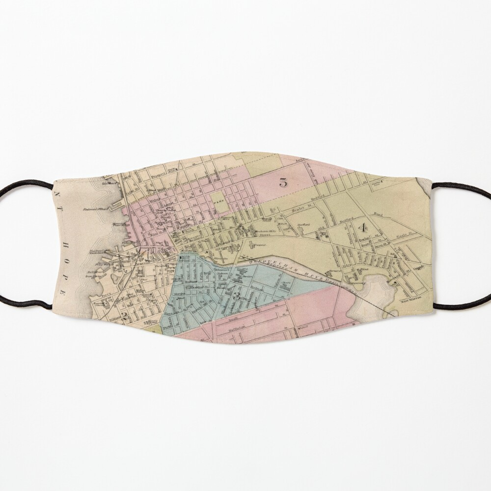 """Vintage Map of Fall River MA (9)Spindle City"""" Mask by"""