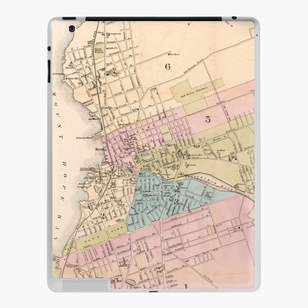 """Vintage Map of Fall River MA (9)Spindle City"""" iPad Case & Skin"""