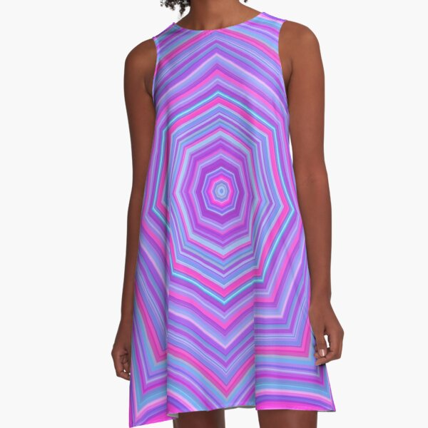 Colorful Web Pink Blue A-Line Dress