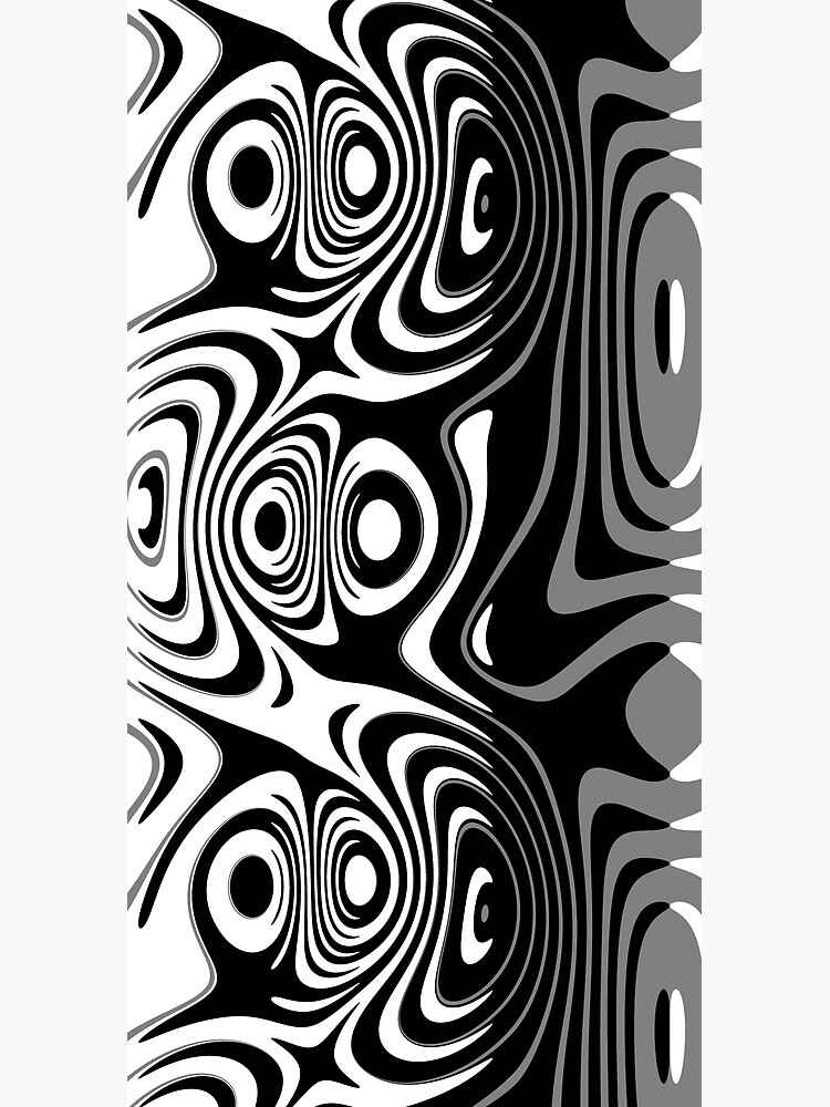 Black and White Abstract Swirling Stripes Pattern by RootSquare