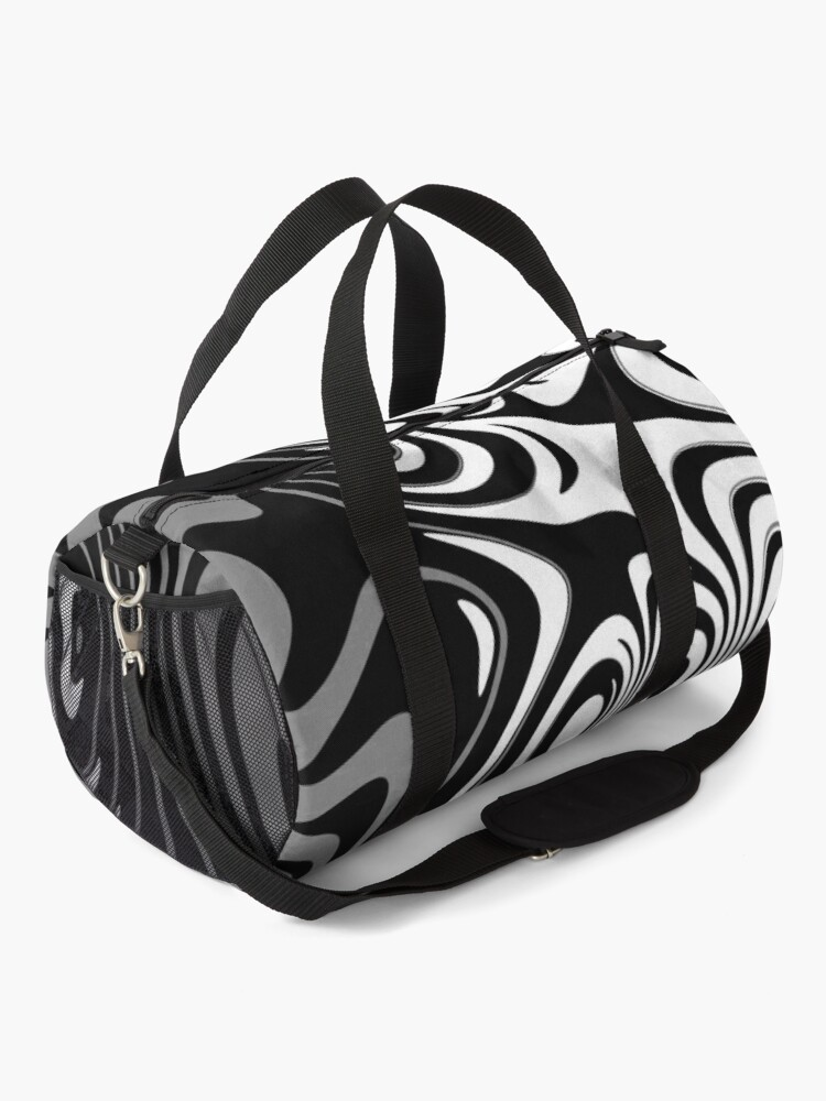 Alternate view of Black and White Abstract Swirling Stripes Pattern Duffle Bag