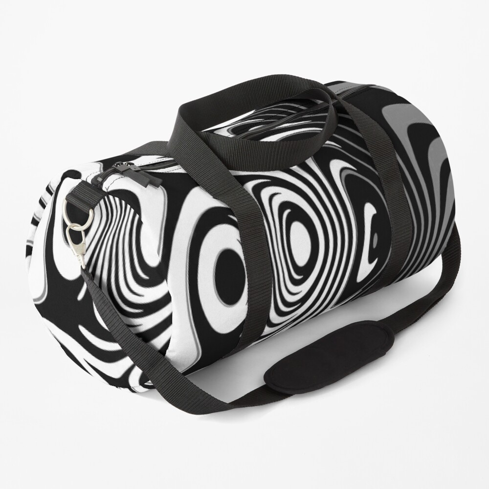 Black and White Abstract Swirling Stripes Pattern Duffle Bag