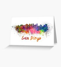 San Diego skyline in watercolor Greeting Card