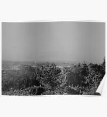 Wood View Point Over Birmingham Black And White Poster