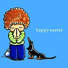 Redhead Boy Praying with Dachshund Easter by offleashart