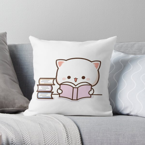 Peach and Goma Mochi Cat Reading Throw Pillow
