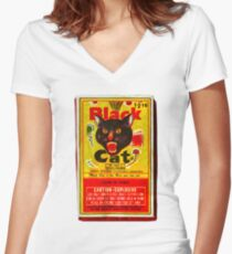 Black Cat Fireworks T-Shirt Women's Fitted V-Neck T-Shirt