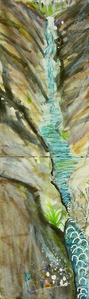 waterfall with bubbles and paint by donna malone