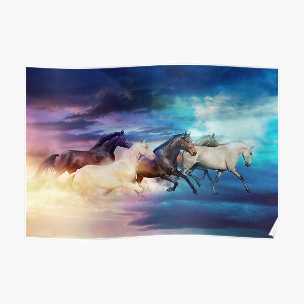 herd of horses in pastel Poster