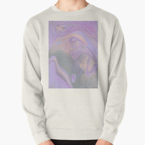Purple and Silver Marble Painting Pullover Sweatshirt