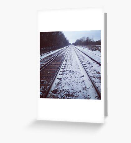 Rail track. Snow. Greeting Card