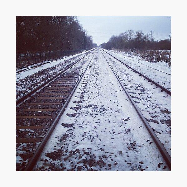 Rail track. Snow. Photographic Print