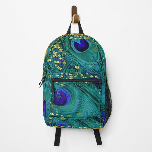 Dreamy peacock feathers, teal and purple, glimmering gold Backpack