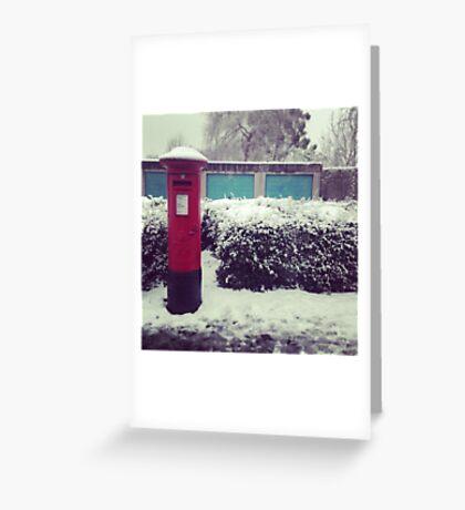 Pillar Box. Snow. Greeting Card