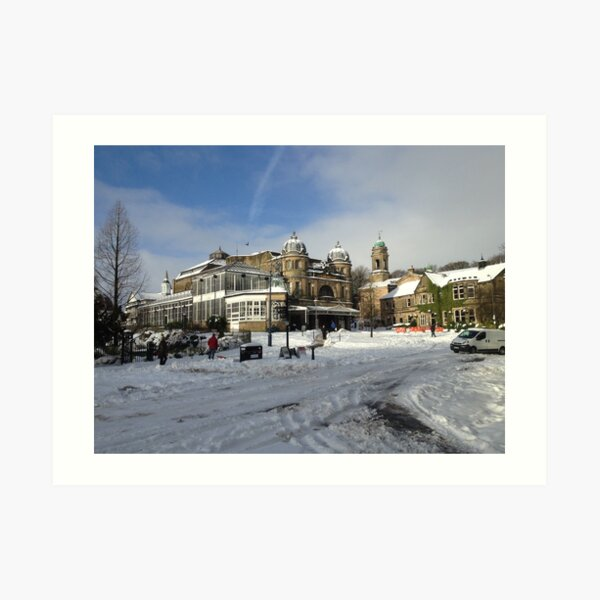 Outside Buxton Oper House in the snow. Art Print
