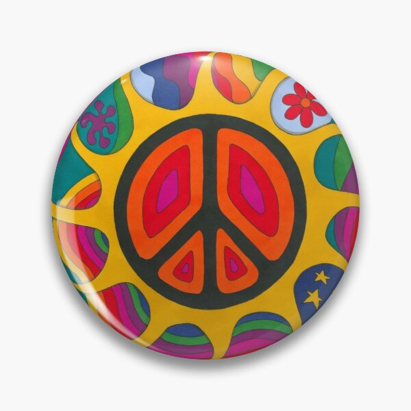 Psychedelic Flaming Peace Pin