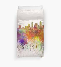 Seattle skyline in watercolor background Duvet Cover