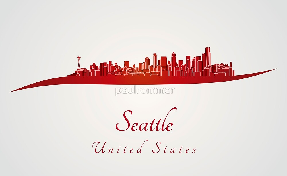 Seattle skyline in red by paulrommer