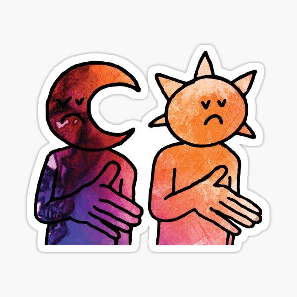 Day N Nite Sun and Moon (Black) Sticker