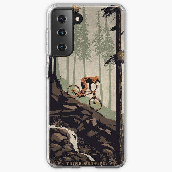 Retro Scenic Mountain Bike Poster Art: Think Outside, No Box Required! Samsung Galaxy Soft Case