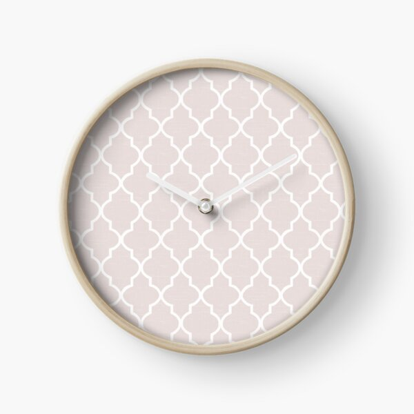 Dusty Almost Mauve pink white quatrefoil Clock