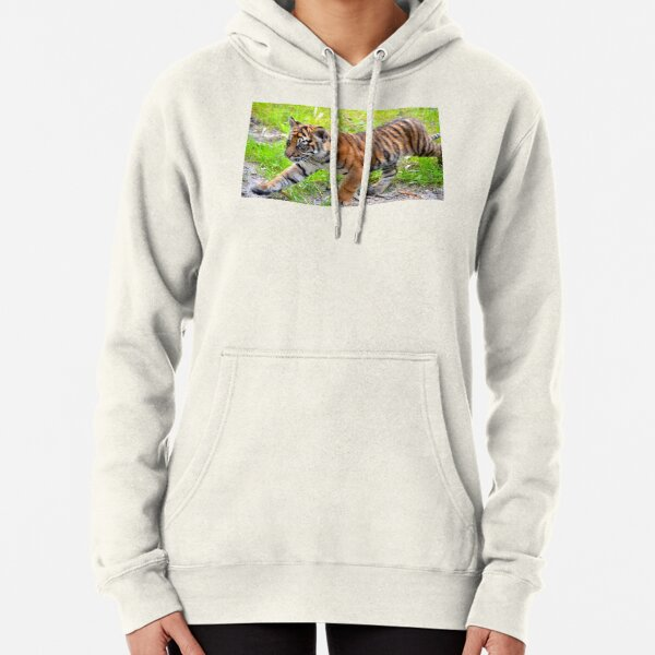 Sumatran Baby Tiger On the Run Pullover Hoodie