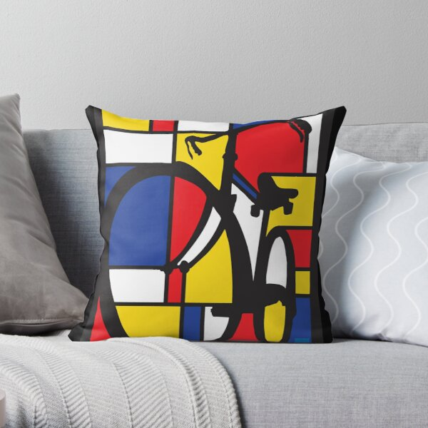 Mondrian Bicycle art Throw Pillow
