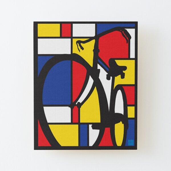 Mondrian Bicycle art Wood Mounted Print