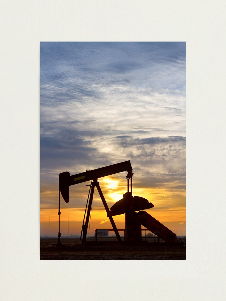 Alternate view of Oil Pumper At Sunrise Vertical Image Photographic Print