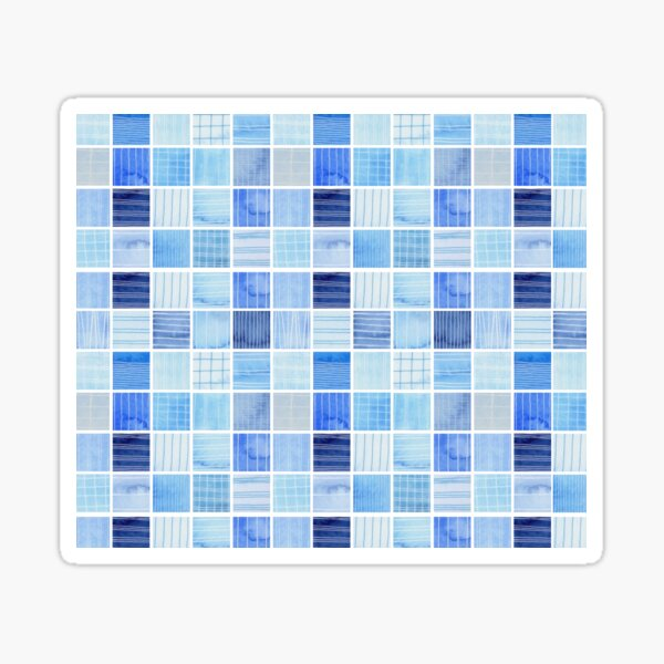Blue Textured Squares on a White Background Sticker