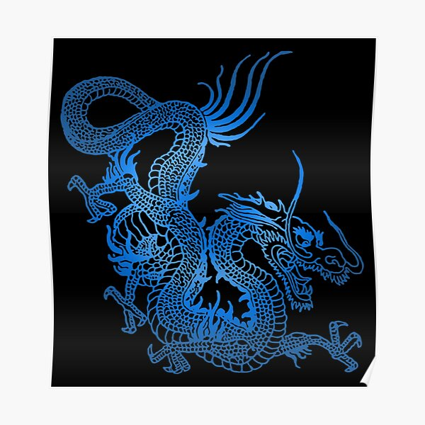 Blue Chinese Dragon Poster