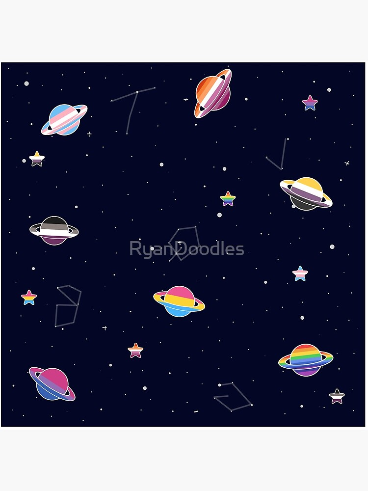 LGBTQ Pride Planets & Stars in Space Pattern by RyanDoodles