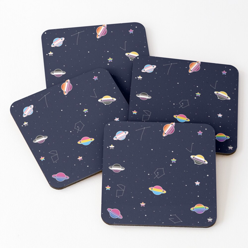 LGBTQ Pride Planets & Stars in Space Pattern Coasters (Set of 4)