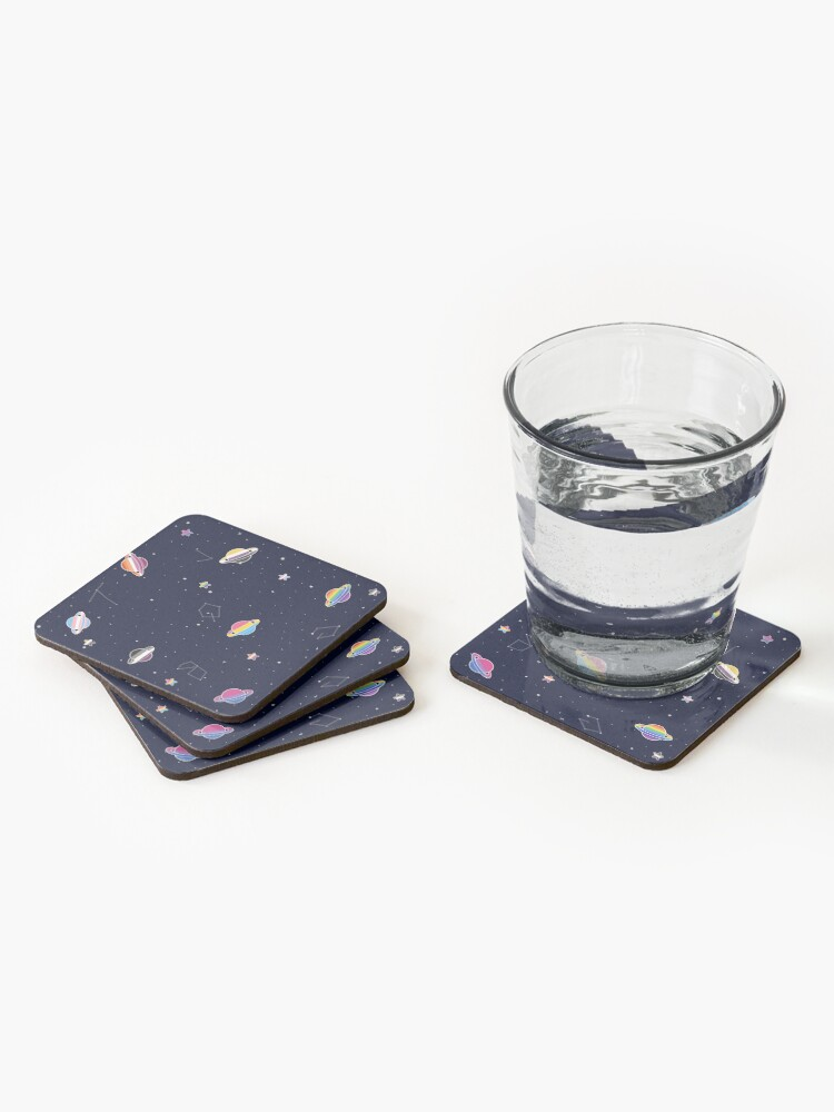 Alternate view of LGBTQ Pride Planets & Stars in Space Pattern Coasters (Set of 4)