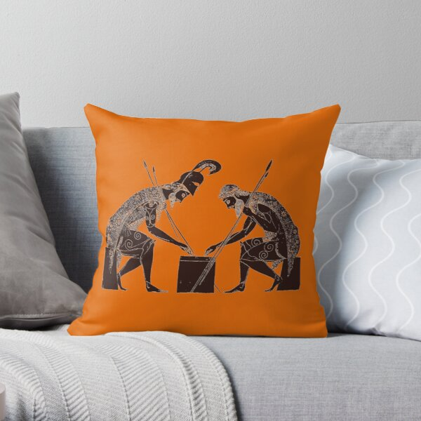 Achilles and Ajax playing a game of dice Throw Pillow