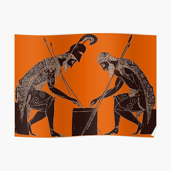 Achilles and Ajax playing a game of dice Poster