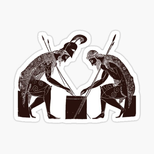 Achilles and Ajax playing a game of dice Sticker
