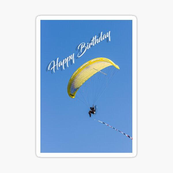 Yellow Para Glider Birthday Card Sticker