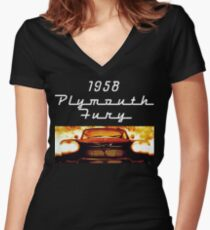 Christine - 1958 Plymouth Fury (White Font) Women's Fitted V-Neck T-Shirt