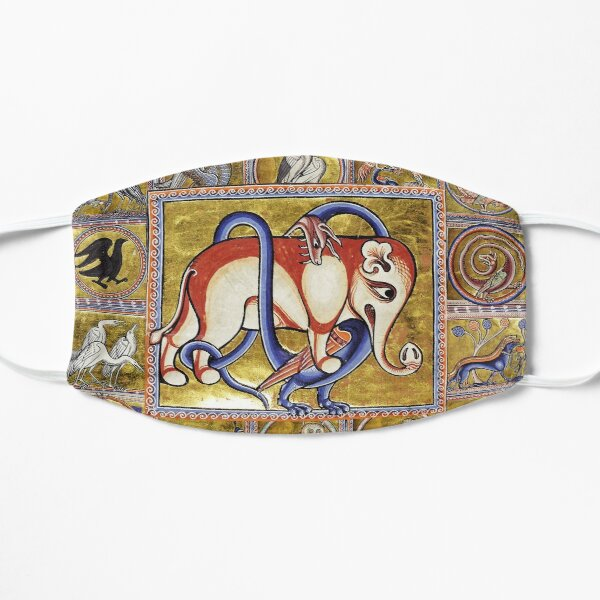 MEDIEVAL BESTIARY COMBAT, DRAGON AND  ELEPHANT, FANTASTIC ANIMALS IN GOLD RED BLUE COLORS Mask
