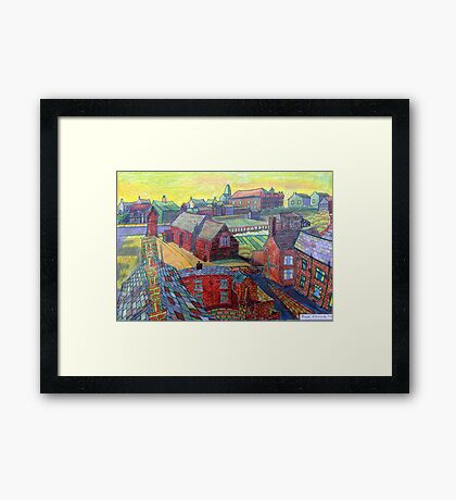 376 - RHOS SEEN FROM STIWT ROOF - DAVE EDWARDS - COLOURED PENCILS - 2013 Framed Print