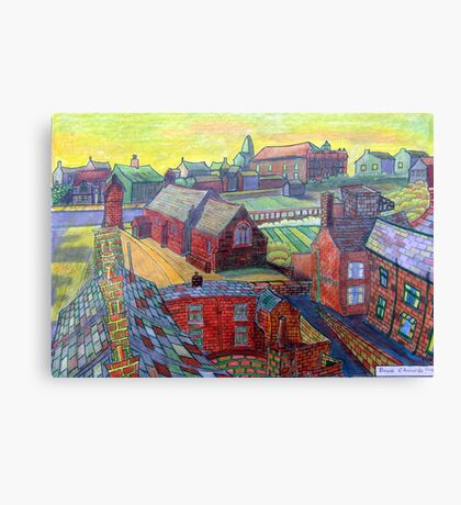 376 - RHOS SEEN FROM STIWT ROOF - DAVE EDWARDS - COLOURED PENCILS - 2013 Canvas Print