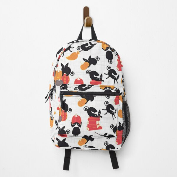 Busy Halloween Black Cats // white background Backpack