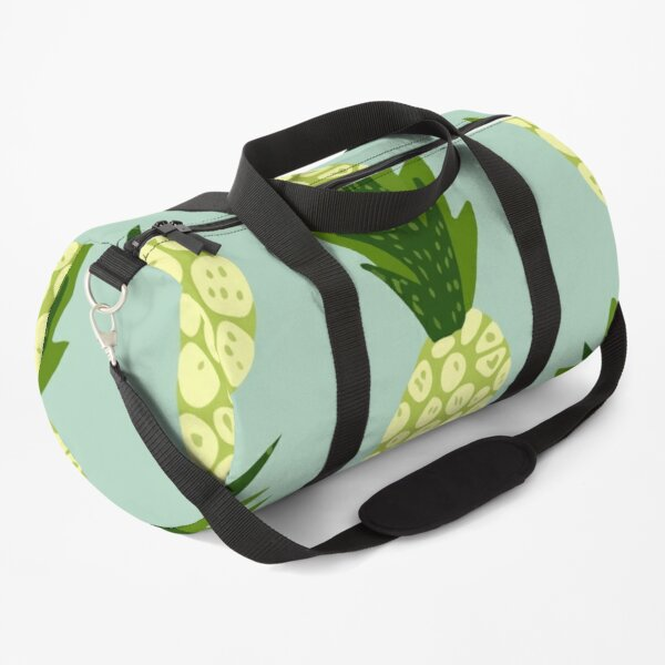 Exotic tropical fruits pattern blue background hand drawn pineapple wallpaper Duffle Bag