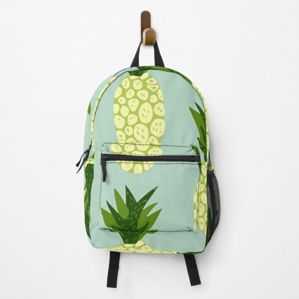 Exotic tropical fruits pattern blue background hand drawn pineapple wallpaper Backpack