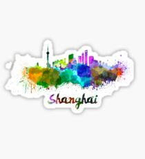 Shanghai skyline in watercolor Sticker