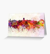Sheffield skyline in watercolor background Greeting Card