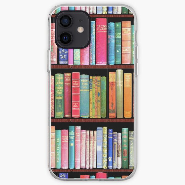 Bookworm Antique book library, vintage book shelf iPhone Soft Case